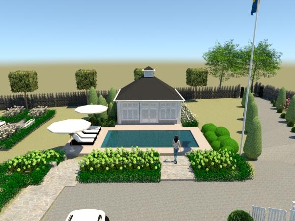 Pool och poolhus