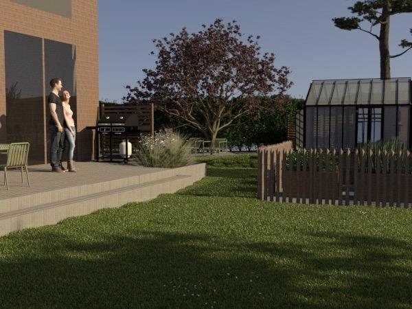 altan och köksträdgård ritad av trädgårdsarkitekt