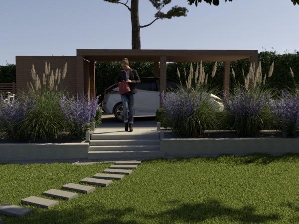 Terrassering och carport av trädgårdsarkitekt
