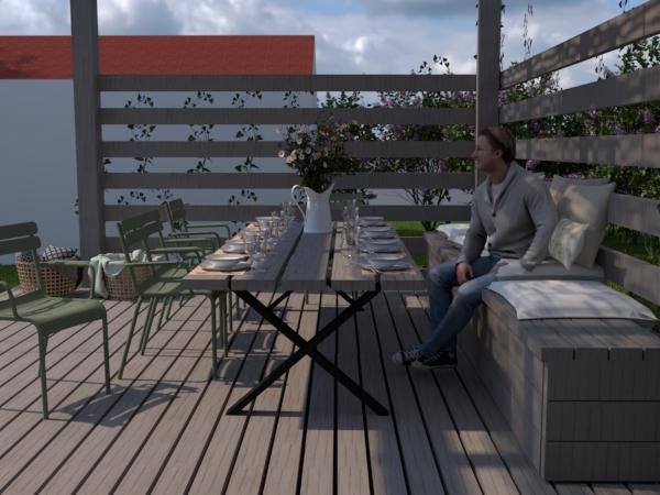 platsbyggd bänk och plankbord