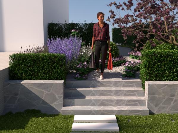entretrapp ritad av trädgårdsdesigner